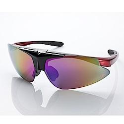 【Z-POLS】MIT頂級可掀設計黑紅漸搭配帥氣七彩防爆片頂級運動眼鏡