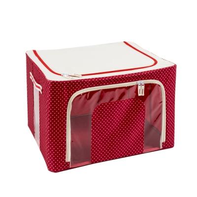 樂嫚妮 66L防潑水雙門單視窗鐵架換季衣物收納箱/折疊收納箱-點點紅