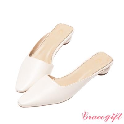Disney collection by grace gift-花木蘭微方頭穆勒圓跟跟鞋 米白
