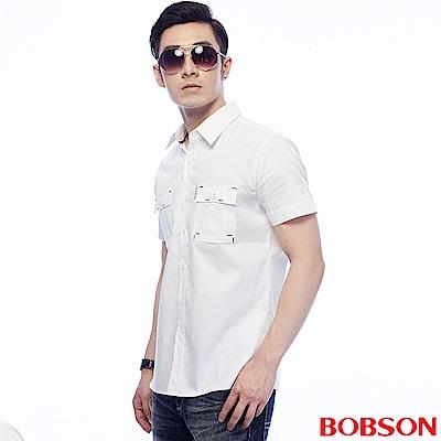 BOBSON  男款白色素面襯衫