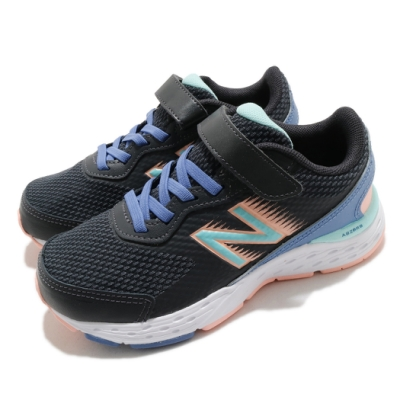 New Balance 休閒鞋 680 Wide 寬楦 運動 童鞋 紐巴倫 透氣 舒適 魔鬼氈 球鞋 中童 黑 藍 YA680BB6W