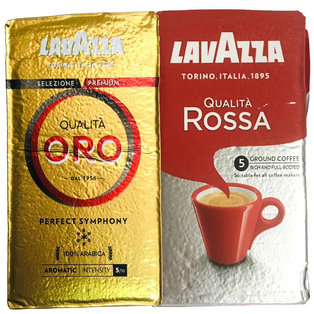 LAVAZZA ORO金牌咖啡粉(2包)+ROSSA研磨咖啡粉(2包)