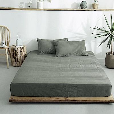 澳洲Simple Living 特大300織台灣製純棉床包枕套組(質感灰綠)