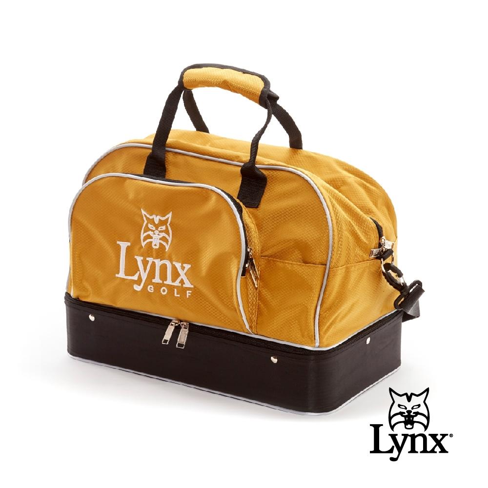 【Lynx Golf】山貓刺繡硬底式旅行外袋/運動衣物袋-金色