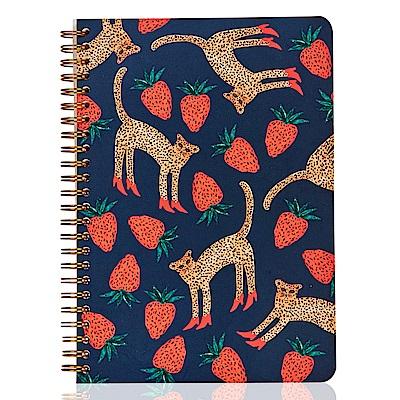 7321 Design BBH金色環裝筆記本-愛吃草莓的豹