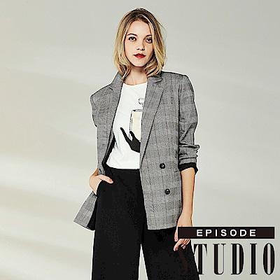EPISODE Studio - 型格造型格紋翻領外套(灰)