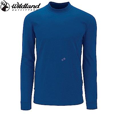 【Wildland 荒野】男遠紅外線彈性保暖衣中藍