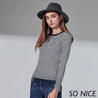 SO NICE簡約網紗領條紋上衣