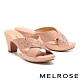 拖鞋 MELROSE 質感雅緻晶鑽交叉造型高跟拖鞋-粉 product thumbnail 1