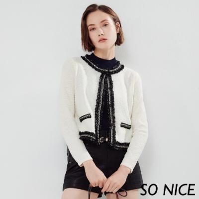 SO NICE優雅小香風粗花呢外套