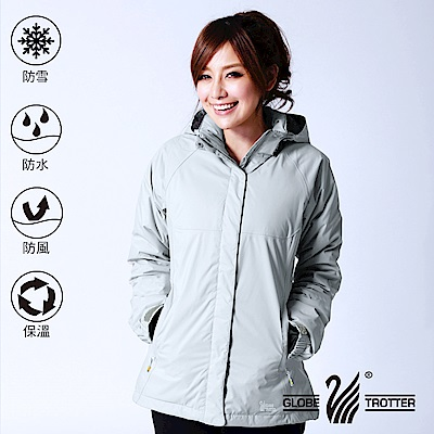 【遊遍天下】GLOBETEX女款顯瘦防水防風保暖90%羽絨外套GJ23018灰色