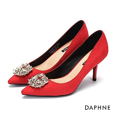 達芙妮DAPHNE 高跟鞋-水鑽花飾絨布尖頭高跟鞋-紅