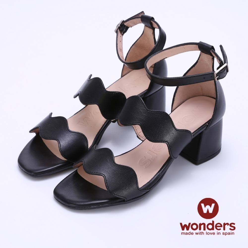WONDERS -水波曲線後帶繞踝粗跟涼鞋-黑色