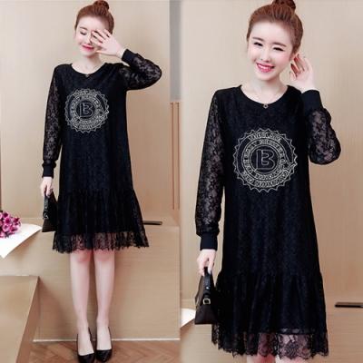 【韓國K.W.】(預購)時尚氣質蕾絲拼接洋裝