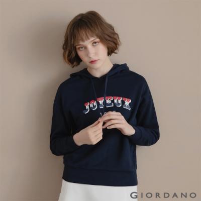 GIORDANO  女裝經典CAMPUS連帽T恤 - 41 標誌海軍藍