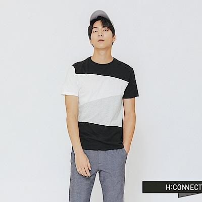 H:CONNECT 韓國品牌 男裝-色塊層次上衣-黑