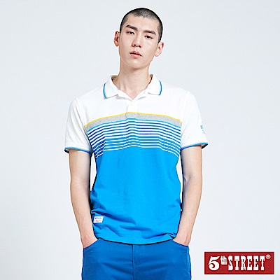 5th STREET 配色條紋POLO衫-男-白色