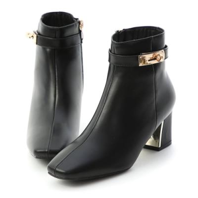 D+AF 貴族風尚.質感鎖釦金屬跟短靴*黑
