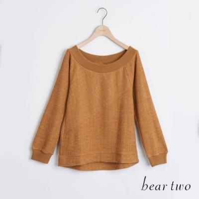 bear two- 微點點拼接寬領上衣 - 咖啡
