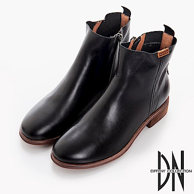 DN 百搭率性 鞋頭擦色2WAY牛皮短靴-黑