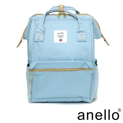 日本正版anello  經典口金後背包 粉藍色 L