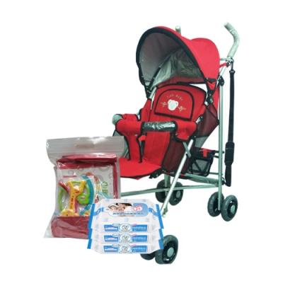 IAN BABY 833六段平躺傘車(紅)/台灣製+貝恩嬰兒保養柔濕巾20抽<b>3</b>入 贈費雪大禮包