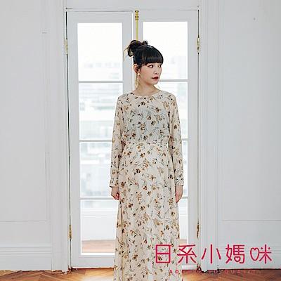 日系小媽咪孕婦裝-孕婦裝 秋氛乾燥玫瑰縮腰珍珠釦雪紡洋裝