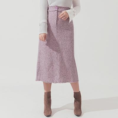 AIR SPACE PLUS 棉麻開衩抽鬚直筒長裙(紫)