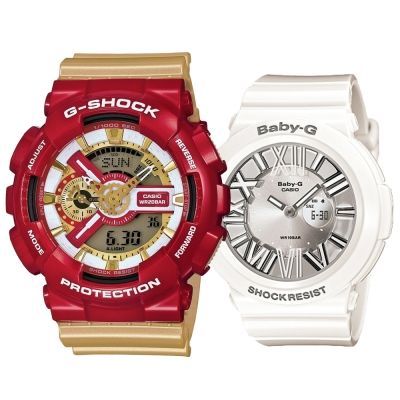G-SHOCK&BABY-G 英雄聯盟-IRON MAN鋼鐵人系列組合-紅金+白