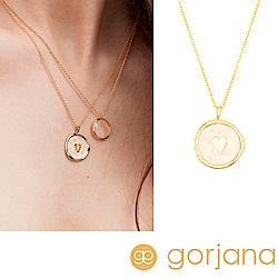 GORJANA Heart Coin 金色愛心項鍊 粉紅色琺瑯硬幣項鍊 愛情好人緣