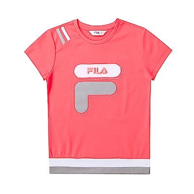 FILA KIDS 童吸濕排汗針織上衣-玫紅 5TET-4442-LP