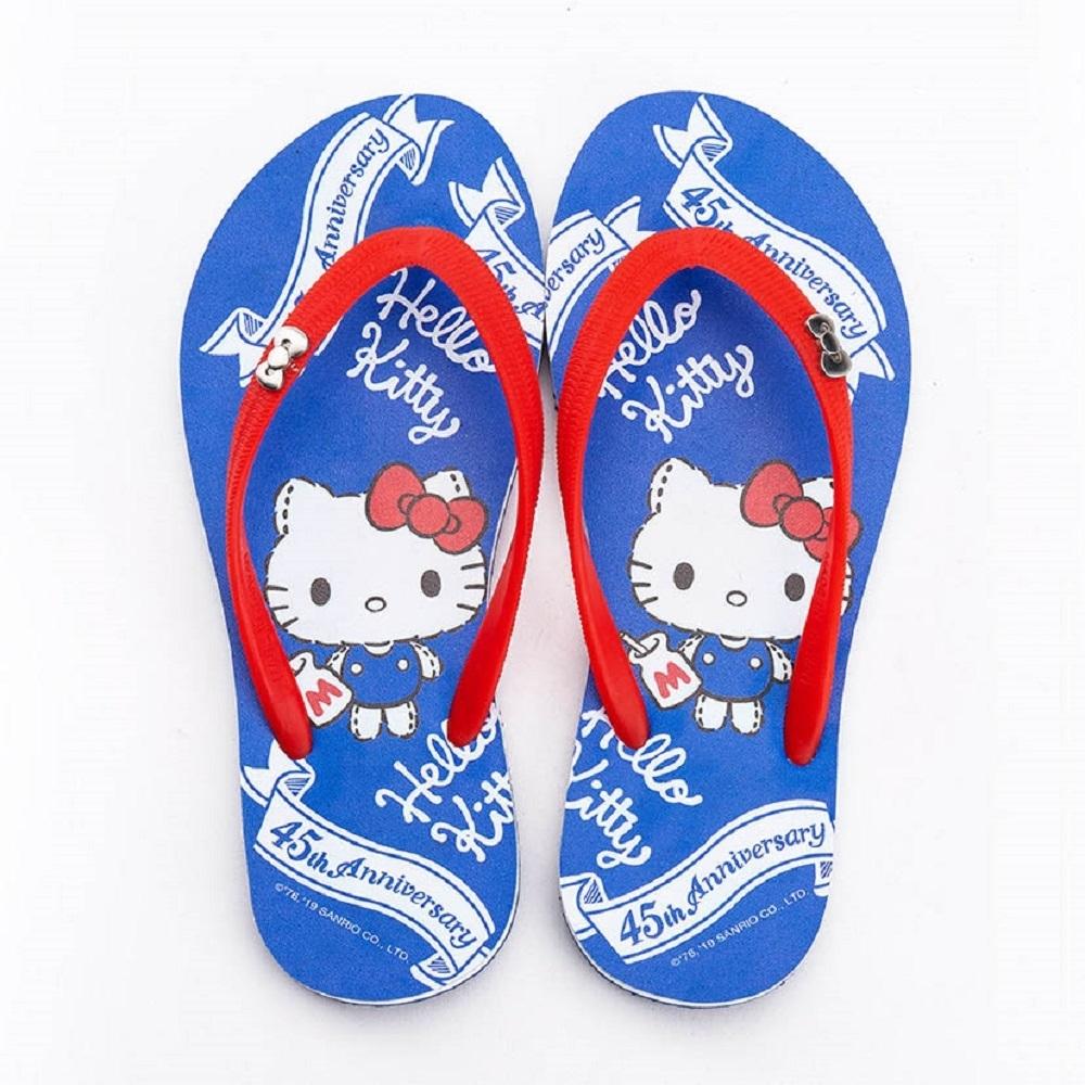 HELLO KITTY艾樂跑女鞋-45周年主題 夾腳拖鞋-藍(919124)