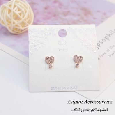 【ANPAN愛扮】韓南大門氣質金閃鑽小愛心925耳釘式耳環