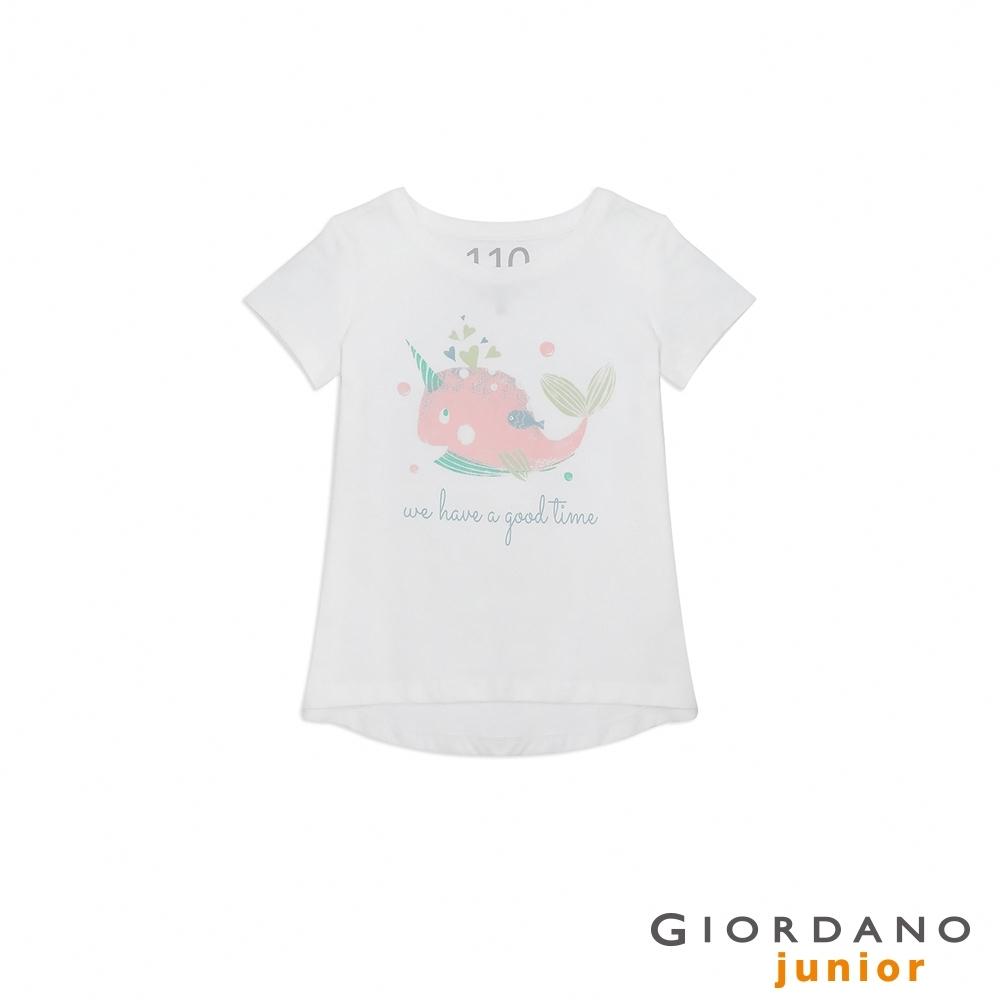 GIORDANO 童裝純棉手繪塗鴉印花T恤-21 標誌白