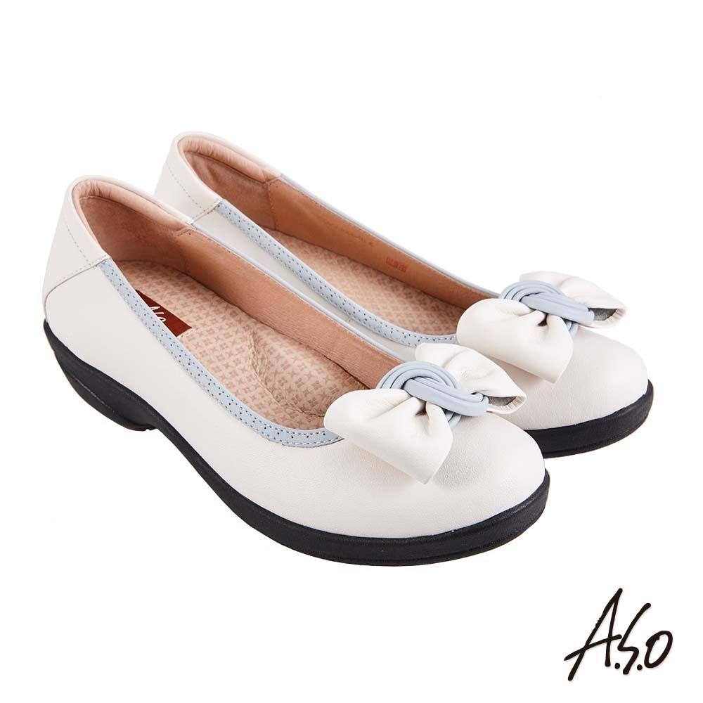 A.S.O 職場通勤 紓壓氣墊撞色蝴蝶結通勤鞋-白