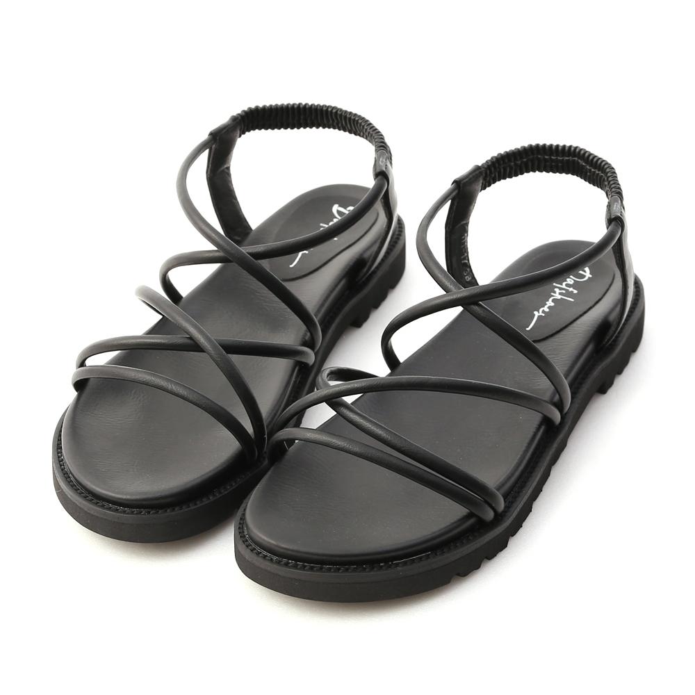 D+AF 假期專屬.交叉帶加厚底羅馬涼鞋*黑