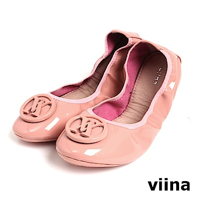 viina 經典款烤漆扣摺疊鞋MIT-粉色