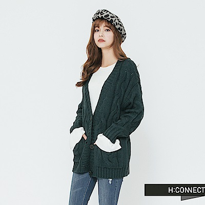 H:CONNECT 韓國品牌 女裝-雙口袋麻花針織外套-藍