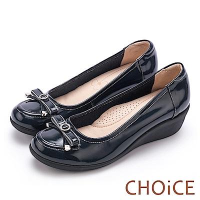 CHOiCE Q軟舒適優雅 蝴蝶結鑽飾牛皮坡跟鞋-藍色