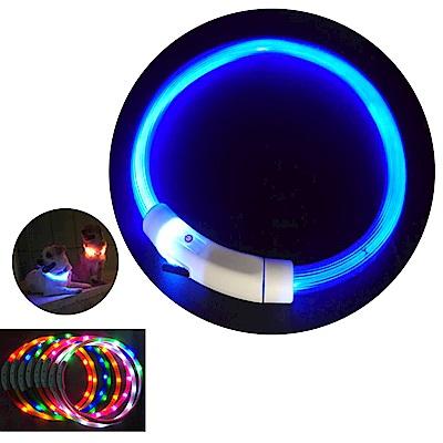 摩達客 LED寵物發光項圈(USB充電式 / 圓周50CM長/藍色光纖款)