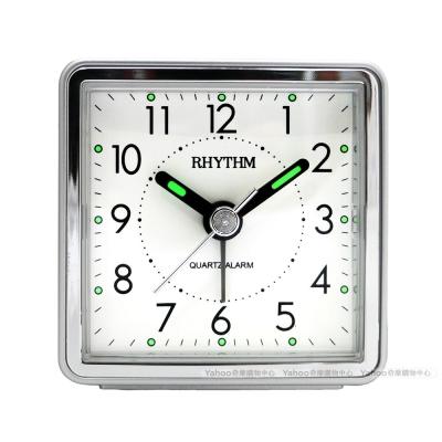 RHYTHM日本麗聲 時尚夜光輕巧隨身小鬧鐘-質感銀/6cm