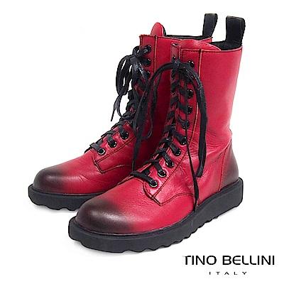 Tino Bellini 率性兼具舒適柔軟真皮軍靴 _ 擦色紅