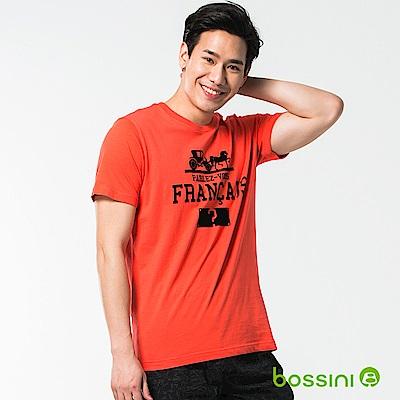 bossini男裝-印花短袖T恤33茄紅