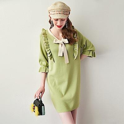 DABI 韓系復古針織裙蝴蝶結木耳邊喇叭袖長袖洋裝