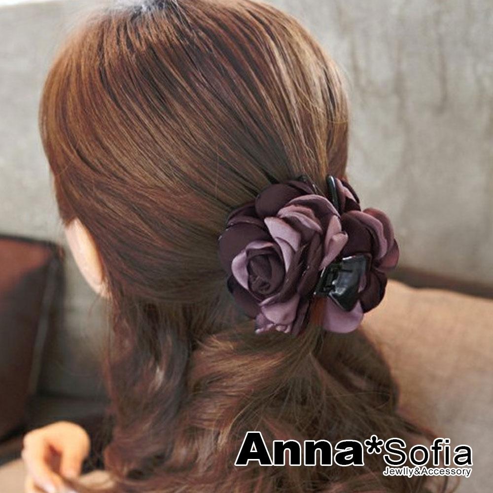 【2件7折】AnnaSofia 雙色綻瓣 純手工中型髮抓髮夾(灰紫系)