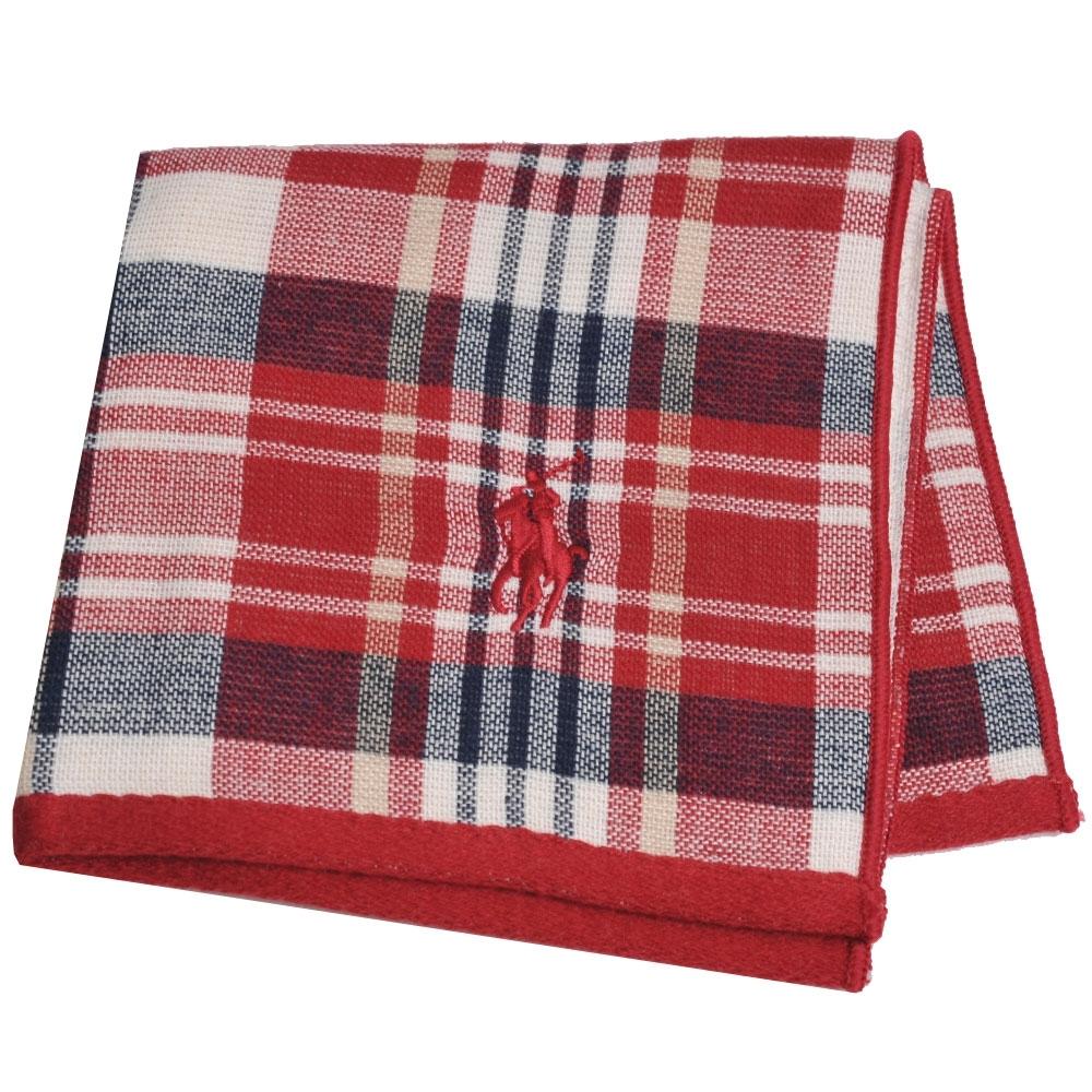 RALPH LAUREN POLO 刺繡LOGO格紋雙面用小方巾(米白/酒紅格系)