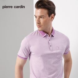 Pierre Cardin皮爾卡登 男裝  單面條紋短袖polo衫-紫色(5197279-25)