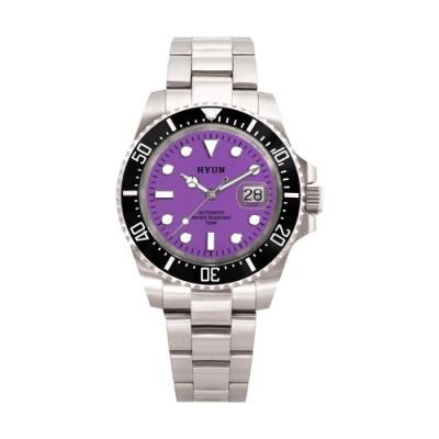 HYUN炫 男士設計精品錶-白鋼紫底
