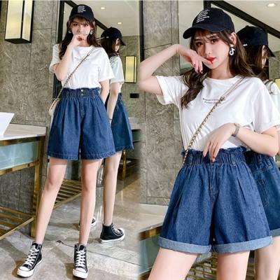 【韓國K.W.】(預購)韓名媛夏日秘密牛仔短褲裙-1色