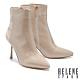 短靴 HELENE SPARK 時髦異材質交叉繫帶尖頭美型高跟短靴-米 product thumbnail 1